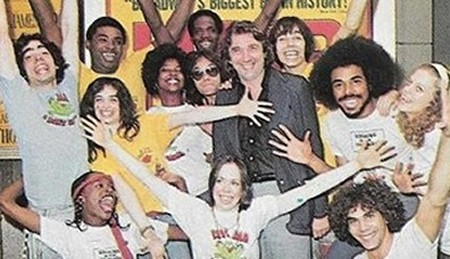 "J. G. Rothberg and the cast of Broadway musical""Hair"""